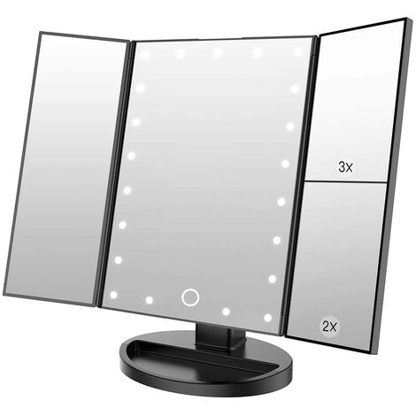 Makeup mirror with 22 lights LED vanity mirror with 2X / 3X magnification, touch screen, portable illuminated makeup mirror 180 degree rotation