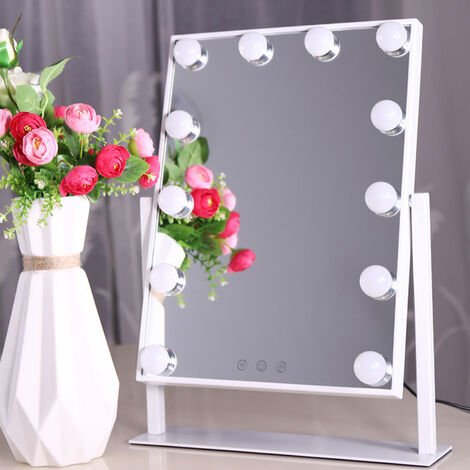 Makeup mirror with dimmable bulb illuminated makeup mirror