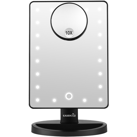 Makeup Mirror with Lights, Dimmable 21 LEDs Vanity Mirror with Little Removable 10X Magnifying Mirror