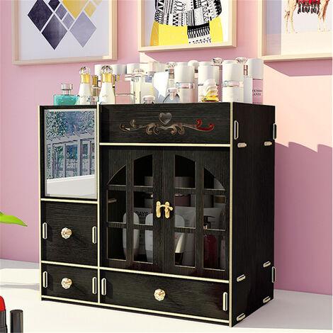 Makeup Organizer Cosmetic Storage Box Drawer Case Lipstick Desk Holder Black