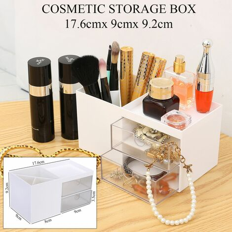 Makeup Organizer Storage Box Jewelry Skin Care Dressing Table Girl Nail Polish Cosmetic Beauty Case