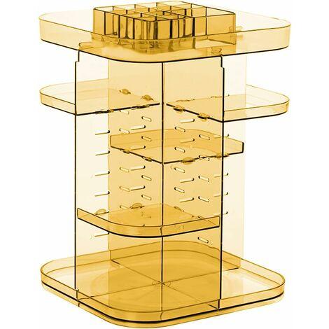 "main image of ""Makeup Storage Cosmetic Display: Acrylic Cosmetic Organizer Bathroom Bedroom Vanity Table - 360 Rotating Jewelry Box for Lipsticks Perfume Brushes | Orange"""