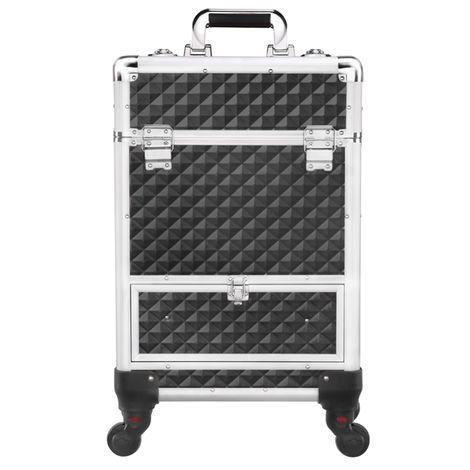 Makeup Train Case/Cosmetic Case/Trolley/Suitcase/Box Large Capacity Trolley with 4 Retractable Trays and 1 Smooth Sliding Drawer Black