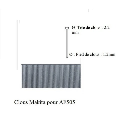 Makita - 1 Boite de 5000 Clous Galva L:35 mm pour AF505 - F-31915 - TNT