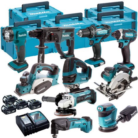Makita 10 Piece Kit 18V Li-ion With 4x5Ah Batteries Charger T4TKIT-84:18V