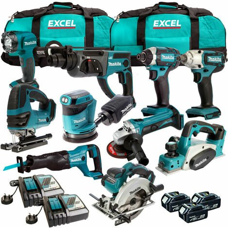Makita 10 Piece Power Tool Kit 18V LXT 3 x 5.0Ah Batteries T4TKIT-263