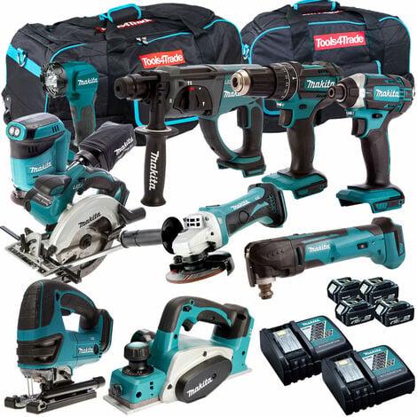 Makita 10 Piece Power Tool Kit 18V LXT 3 x 5.0Ah Batteries T4TKIT-265