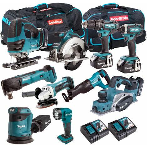 Makita 10 Piece Power Tool Kit 18V LXT 4 x 5.0Ah Batteries T4TKIT-262