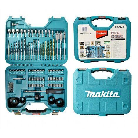 Makita 100 Piece Drill Bit Holesaw Masonry HSS Drill Socket Flat Bit Set - Trade