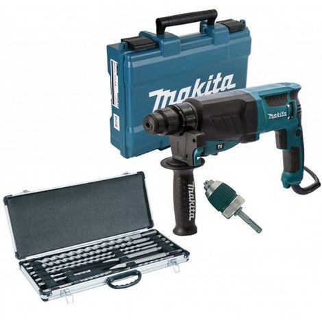 Makita 110v SDS + Rotary Hammer Drill HR2630 Heavy Duty + 16 SDS Bits + Chisels