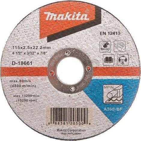 "Makita 115mm 4.5"" Metal Cutting Disc 22mm Bore Flat Disc Metal Masonry Concrete"