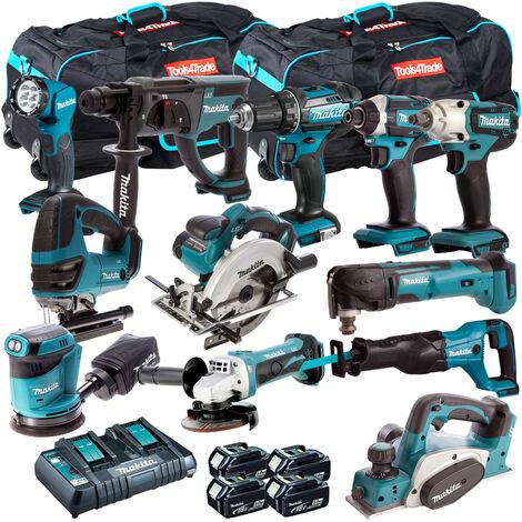 Makita 12 Piece Power Tool Kit 18V LXT 4 x 5.0Ah Batteries T4TKIT-259