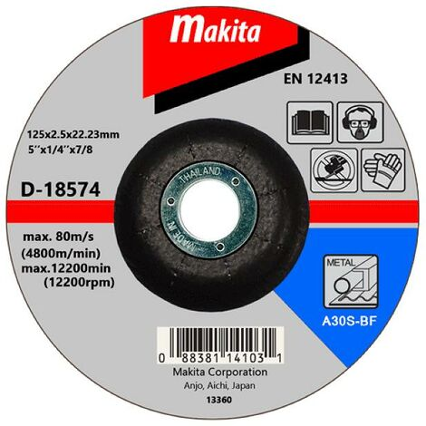 """Makita 125mm 5"""" Thin Cutting Disc 22mm Bore Flat Disc Metal Stainless Steel"""