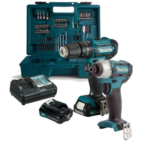 Makita 12v Cordless Combi Hammer Drill & Impact Driver Twin Pack + 74 piece Set