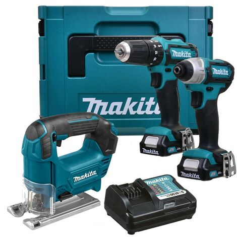Makita 12v CXT 3pc Kit Combi Hammer Drill + Impact Driver + Jigsaw 2 Battery