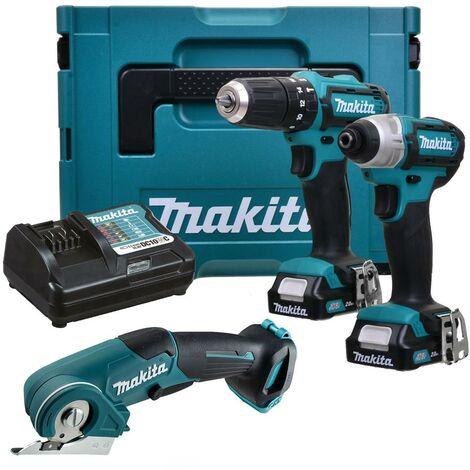 Makita 12v CXT 3pc Kit Combi Hammer Drill + Impact Driver + Multi Cutter 2 Batts