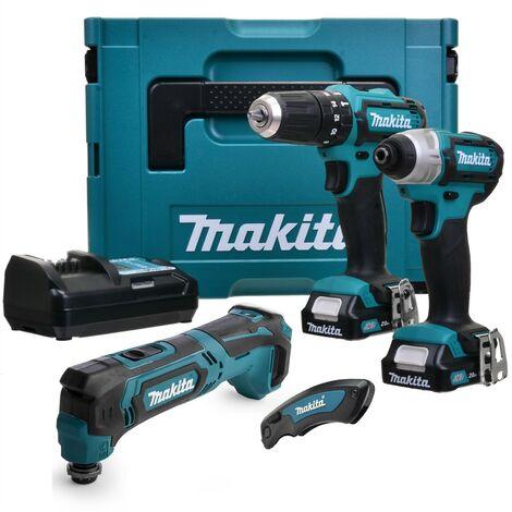 Makita 12v CXT 3pc Kit - Combi Hammer Drill + Impact Driver + Multi Tool 2 Batts