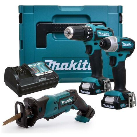 Makita 12v CXT 3pc Kit Combi Hammer Drill + Impact Driver + Recip Saw 2 Battery