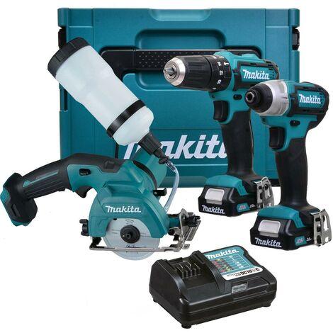 Makita 12v CXT 3pc Kit Combi Hammer Drill + Impact Driver + Tile Cutter 2 Batts