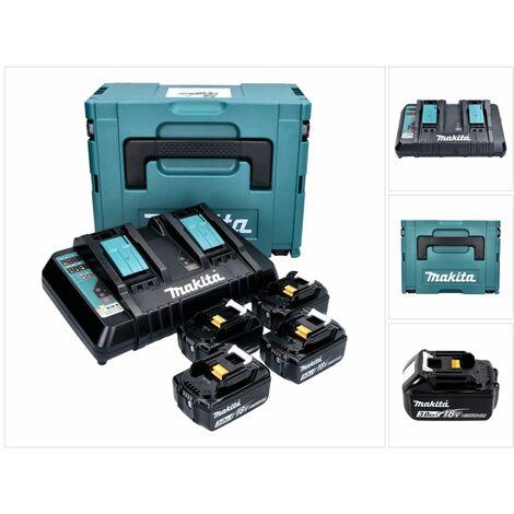 Makita 18 V Power Source Pack Énergie avec 4x Batteries 3 Ah + Chargeur DC 18 RD + Boîtier de transport Makpac ( 197720-6 )