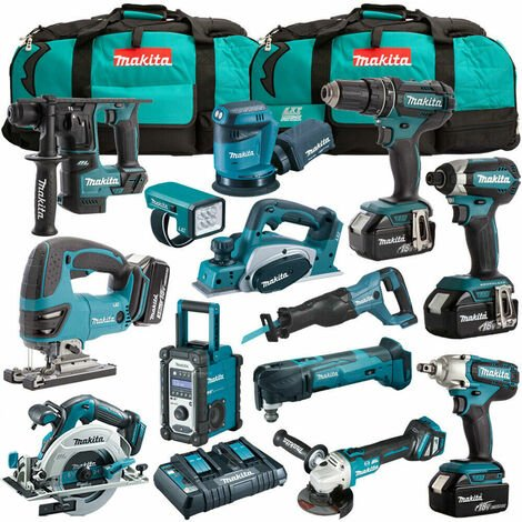 Makita 18V 13 Piece Cordless Kit with 4 x 5.0Ah Batteries T4TKIT-1238