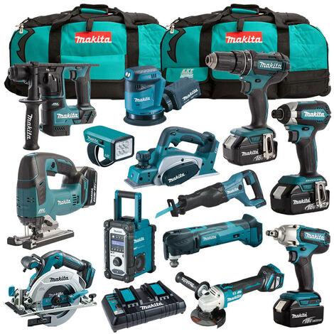 Makita 18V 13 Piece Cordless Kit with 4 x 5.0Ah Batteries T4TKIT-1240