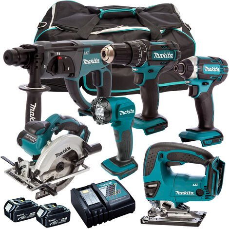 Makita 18V 6 Piece Combo Kit with 2 x 5.0Ah Batteries & Charger T4TKIT-193