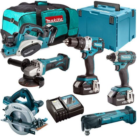Makita 18V 6 Piece Combo Kit with 3 x 5.0Ah Batteries & Charger T4TKIT-136:18V