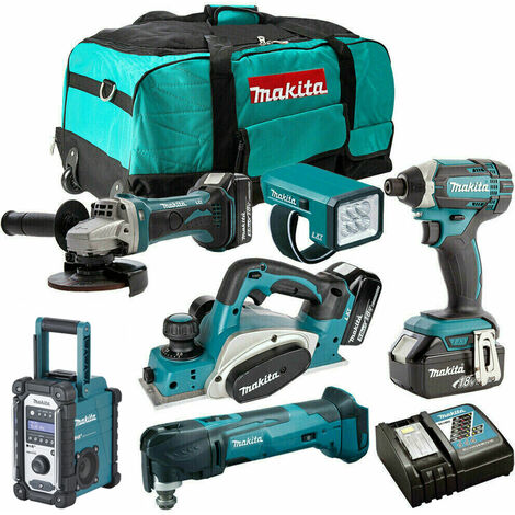 Makita 18V 6 Piece Combo Kit with 3 x 5.0Ah Batteries & Charger T4TKIT-202:18V