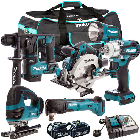Makita 18V 6 Piece Cordless Kit 2 x 5.0Ah Batteries T4TKIT-302:18V
