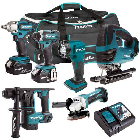 Makita 18V 6 Piece Cordless Kit 2 x 5.0Ah Batteries T4TKIT-303:18V