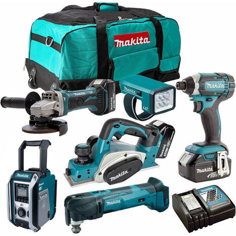 Makita 18V 6 Piece Cordless Kit with 3 x 3.0Ah Batteries & Charger T4TKIT-203:18V