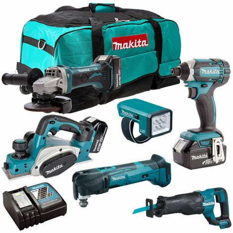 Makita 18V 6 Piece Cordless Power Tool Kit with 3 x 5.0Ah Batteries T4TKIT-229:18V