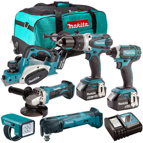 Makita 18V 6 Piece Power Tool Kit with 3 x 3.0Ah Batteries & Charger T4TKIT-189:18V