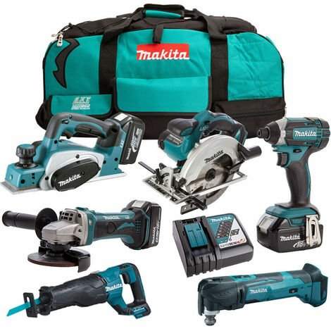 Makita 18V 6 Piece Power Tool Kit with 3 x 5.0Ah Batteries & Charger T4TKIT-186