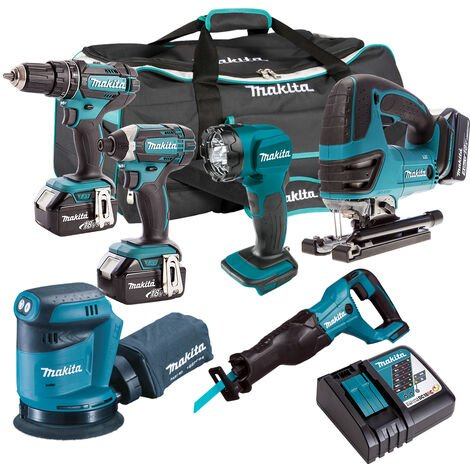 Makita 18V 6 Piece Power Tool Kit with 3 x 5.0Ah Batteries & Charger T4TKIT-187