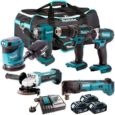 Makita 18V 6 Piece Power Tool Kit with 3 x 5.0Ah Batteries & Charger T4TKIT-190