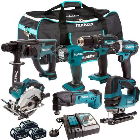Makita 18V 7 Piece Cordless Kit with 3 x 5.0Ah Batteries & Charger T4TKIT-204