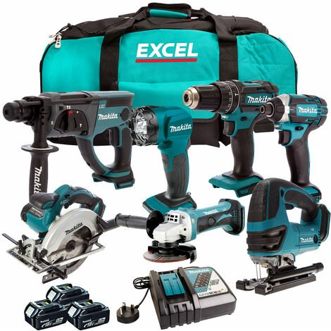 """main image of """"Makita 18V 7 Piece Cordless Kit with 3 x 5.0Ah Batteries & Charger T4TKIT-206"""""""