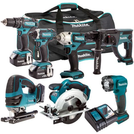 Makita 18V 7 Piece Cordless Kit with 3 x 5.0Ah Batteries & Charger T4TKIT-207