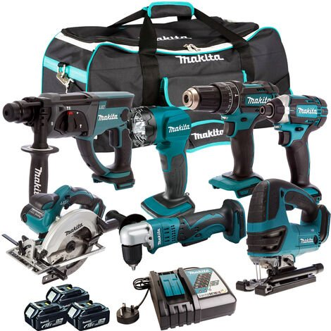 Makita 18V 7 Piece Cordless Kit with 3 x 5.0Ah Batteries & Charger T4TKIT-208