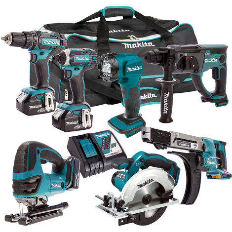 Makita 18V 7 Piece Cordless Kit with 3 x 5.0Ah Batteries & Charger T4TKIT-209