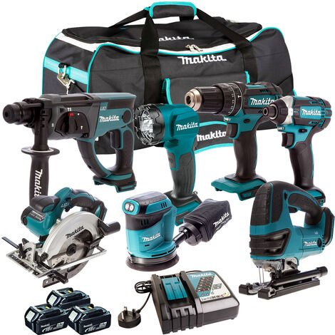Makita 18V 7 Piece Power Tool Kit with 3 x 5.0Ah Batteries & Charger T4TKIT-214