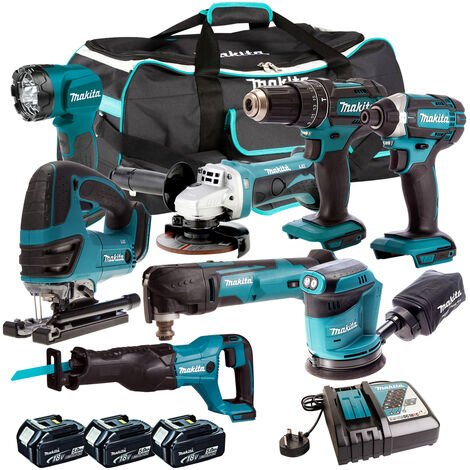 Makita 18V 8 Piece Power Tool Kit with 3 x 5.0Ah Batteries & Charger T4TKIT-319