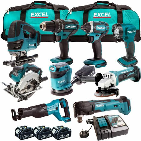 Makita 18V 9 Piece Power Tool Kit with 3 x 5.0Ah Batteries & Charger T4TKIT-318