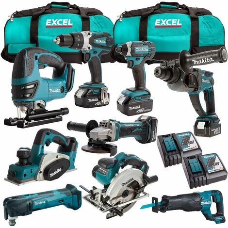 Makita 18V 9 Piece Power Tool Kit with 4 x 5.0Ah Batteries & Charger T4TKIT-313:18V
