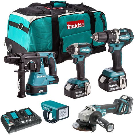 Makita 18V Brushless 5 Piece Cordless Kit 3 x 5.0Ah Batteries & Charger T4TKIT-832:18V