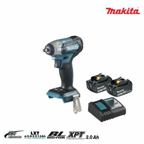 MAKITA 18V brushless impact bolter - 2 batteries BL1830B 3.0Ah - 1 quick charger DC18RC DTW180RFJ