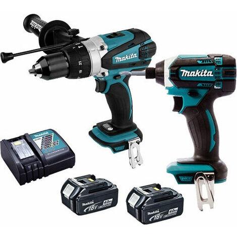 Makita 18V Combi Drill & Impact Driver + 2 x 4.0Ah Battery & Charger