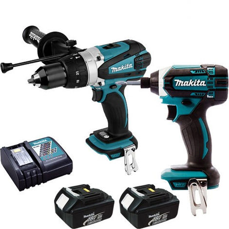 Makita 18V Combi Drill + Impact Driver With 2 x 3Ah Battery & Charger